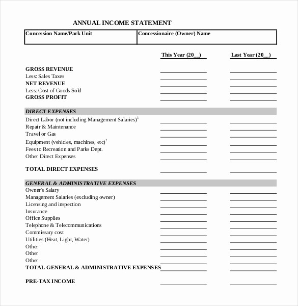 Annual Profit and Loss Statement Best Of In E Statement Templates – 23 Free Word Excel Pdf