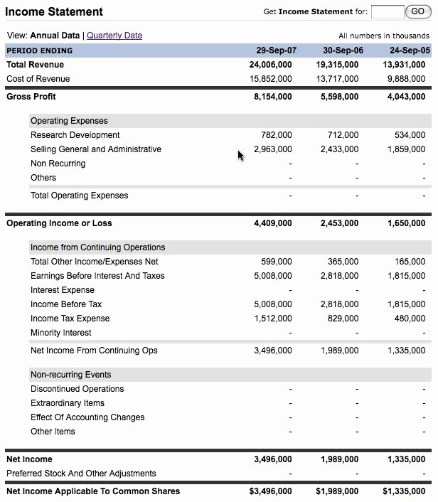 Annual Profit and Loss Statement Lovely Aapl Annual Report