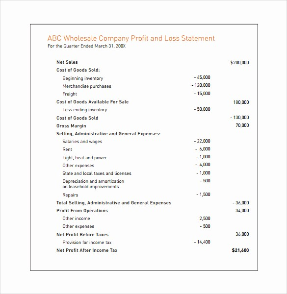 Annual Profit and Loss Statement Unique 7 Simple In E Statements to Download for Free