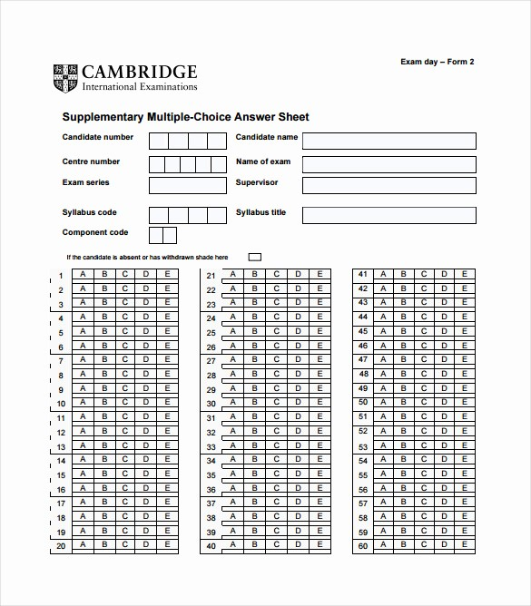 Answer Sheet Template Microsoft Word Awesome 11 Answer Sheet Templates Pdf Doc