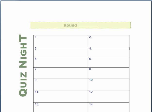 Answer Sheet Template Microsoft Word Inspirational Quiz Night Answer Sheets