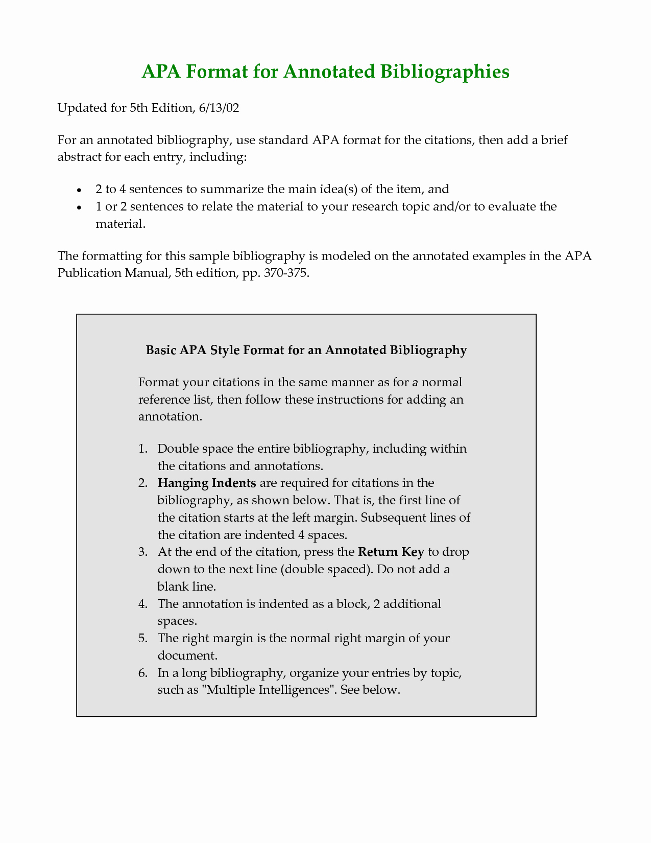 Apa 6th Edition Paper format Elegant Best S Of Sample Apa Annotated Bibliography Example