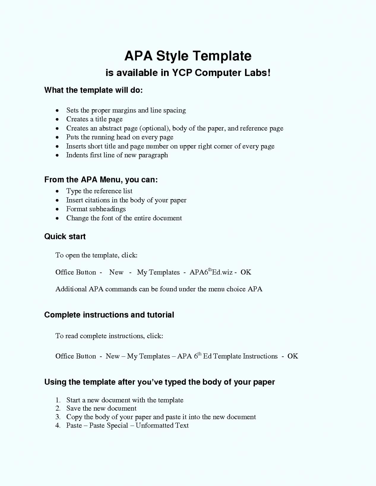 free apa format template word