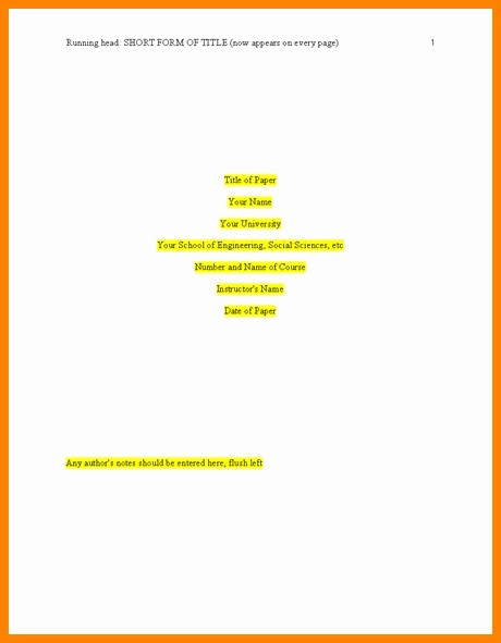 Apa 6th Edition Paper format Lovely Apa 6th Edition Template