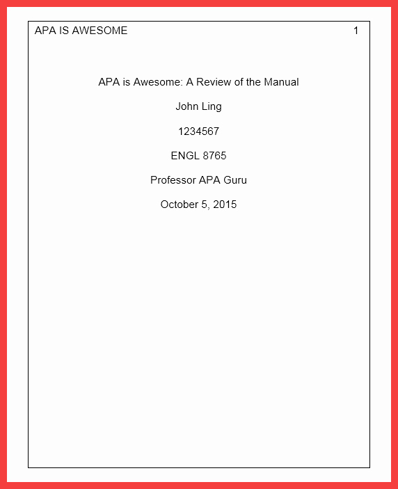 Apa Cover Page format 2016 Awesome Cover Page Apa format 2016