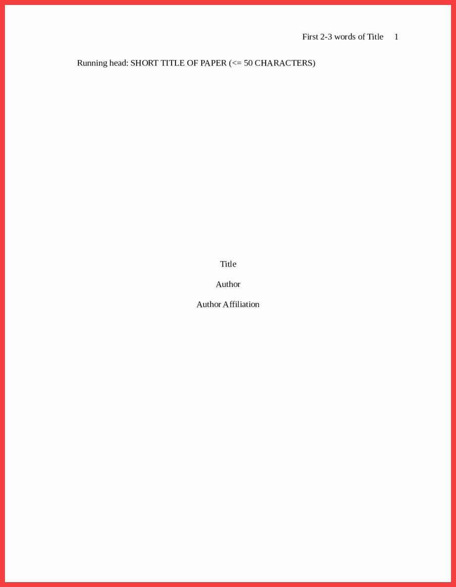 Apa Cover Page format 2016 Lovely Apa format Title Page 2016
