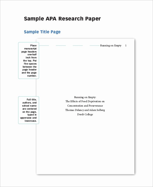 Apa format Cover Page 2016 Awesome Apa Outline for Research Paper