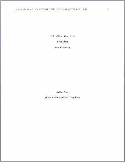 Apa format Cover Page 2016 Awesome Apa Title Page Template