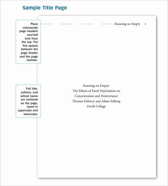 Apa format Cover Page 2016 New 10 Apa Cover Page Templates to Download