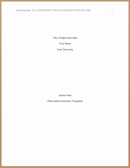 Apa format Cover Page 2017 Elegant Title Page In Apa format Template Image Collections
