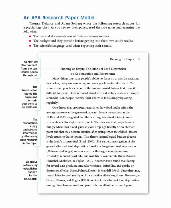 Apa format Example Paper Template Fresh 8 Apa format Examples