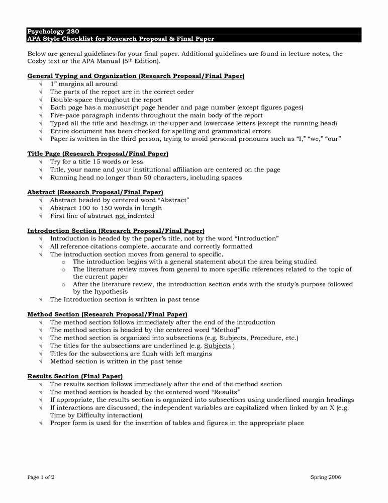 Apa format Example Paper Template Fresh Psychology Research Paper Example Apa format