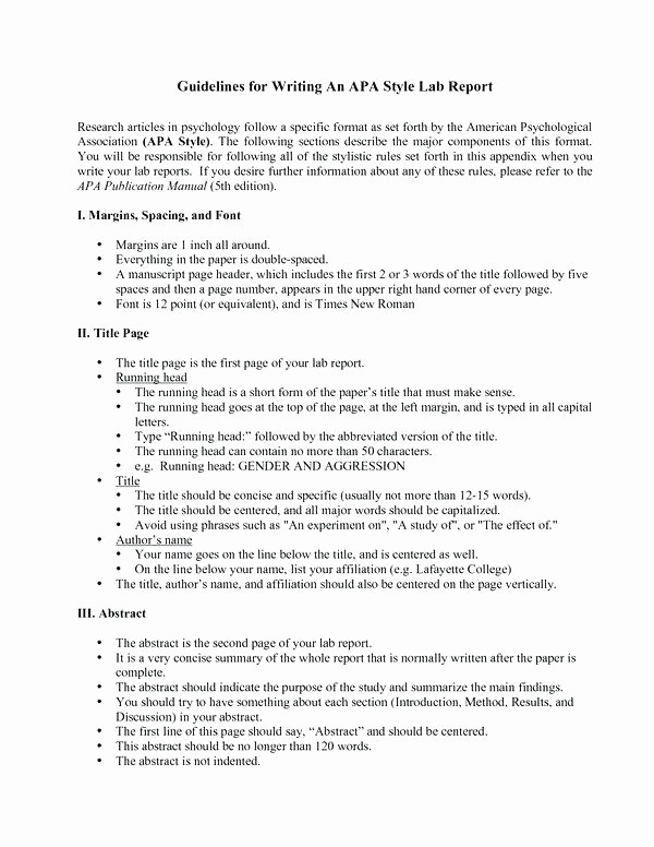 Apa format for A Report Best Of Apa Lab format – Rightarrow Template Database
