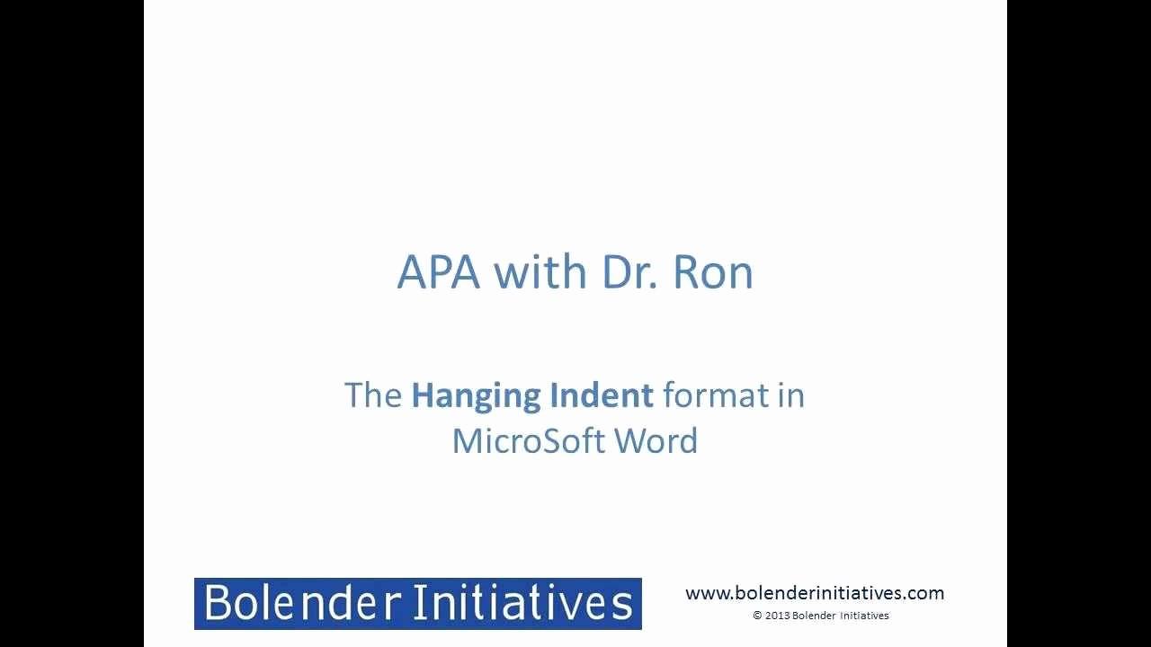 Apa format for Word 2013 Beautiful Hanging Indent format Apa In Microsoft Word