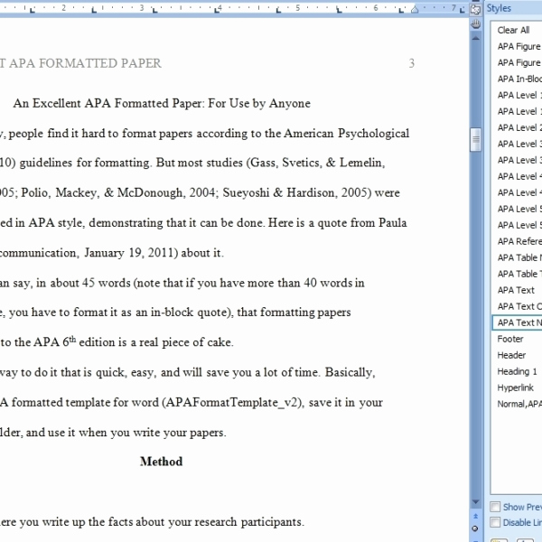 Apa format for Word 2013 Unique Apa format Template Word 2013