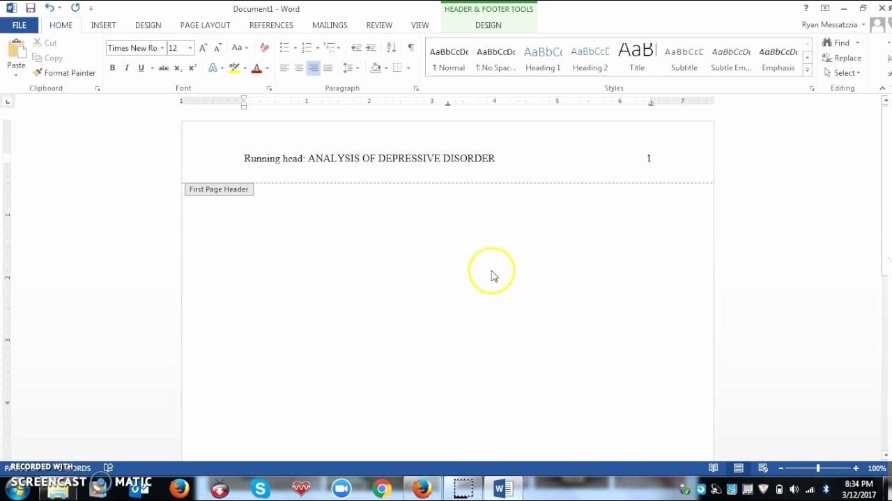 Apa format for Word 2013 Unique Setting Up A Apa Style Running Head Using Microsoft Word