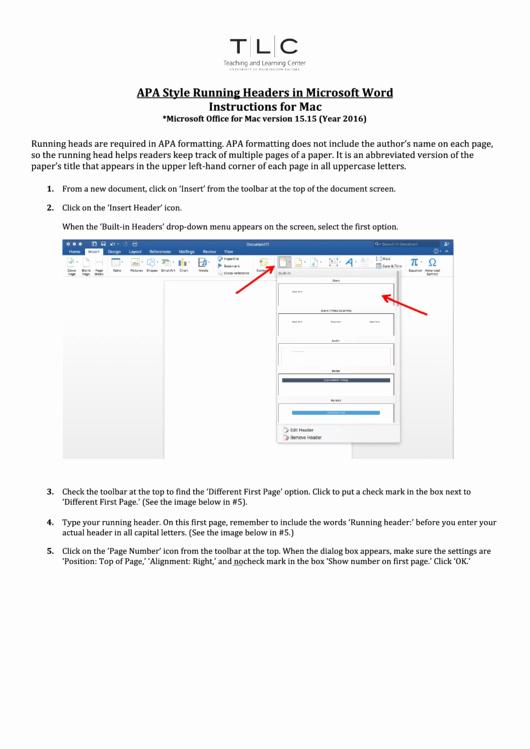 Apa format Microsoft Word Mac New Apa Style Running Headers In Microsoft Word Instructions