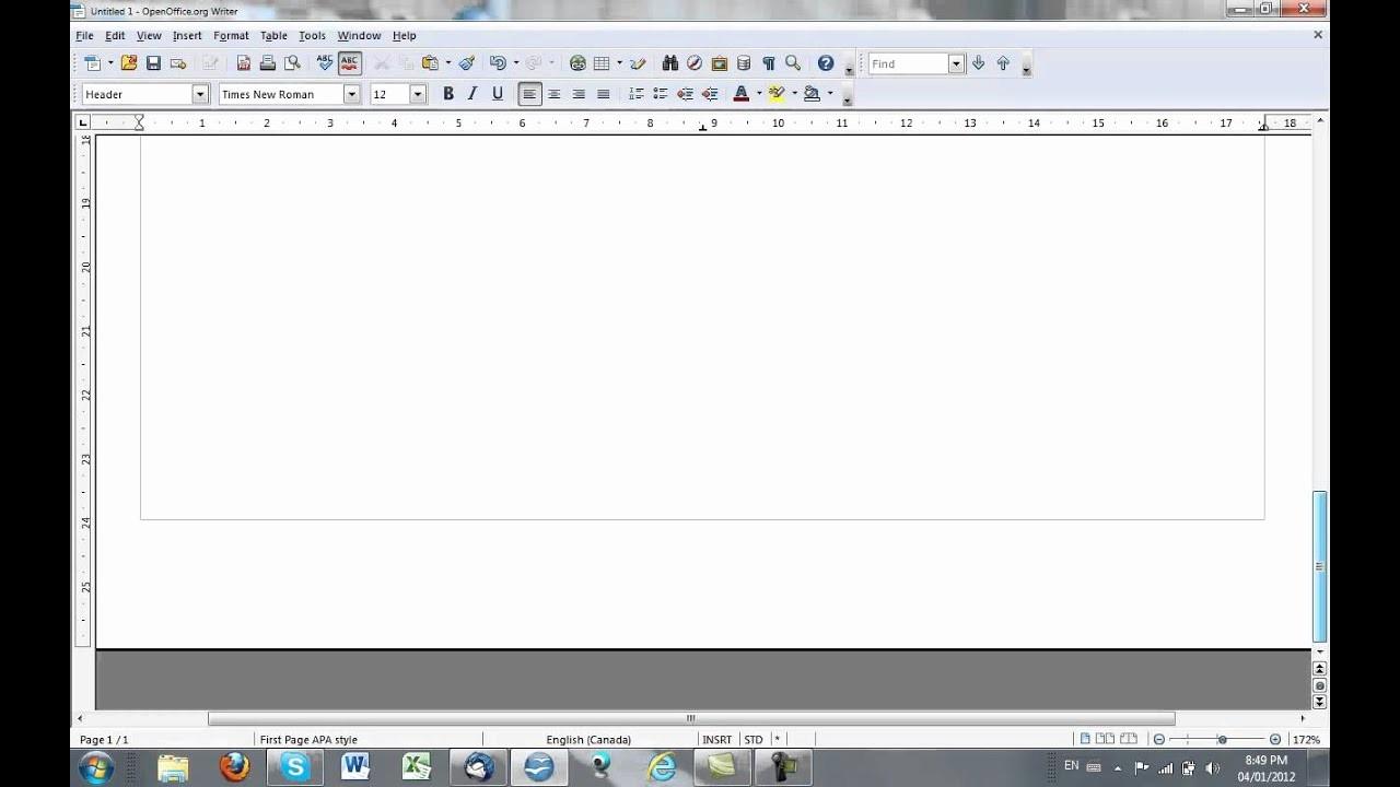 Apa format Open Office Template Fresh Apa Style Running Head In Open Fice
