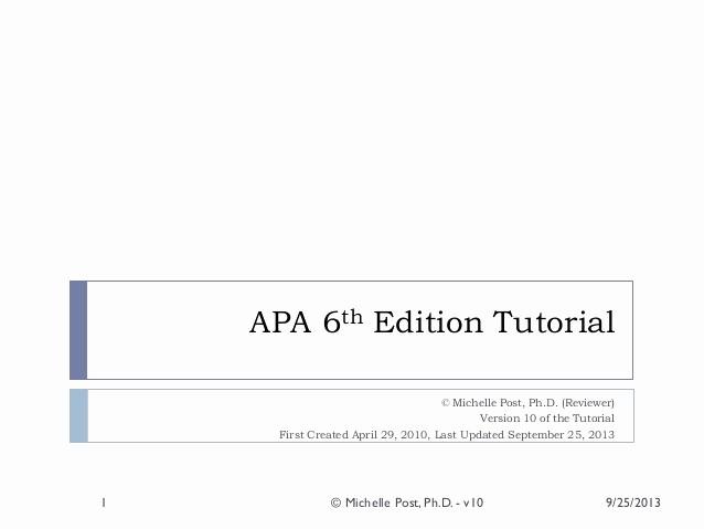 Apa format Paper 6th Edition Lovely Apa 6th Ed Tutorial V10