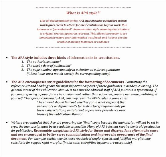 Apa format Sample Paper Doc Fresh Apa format Template