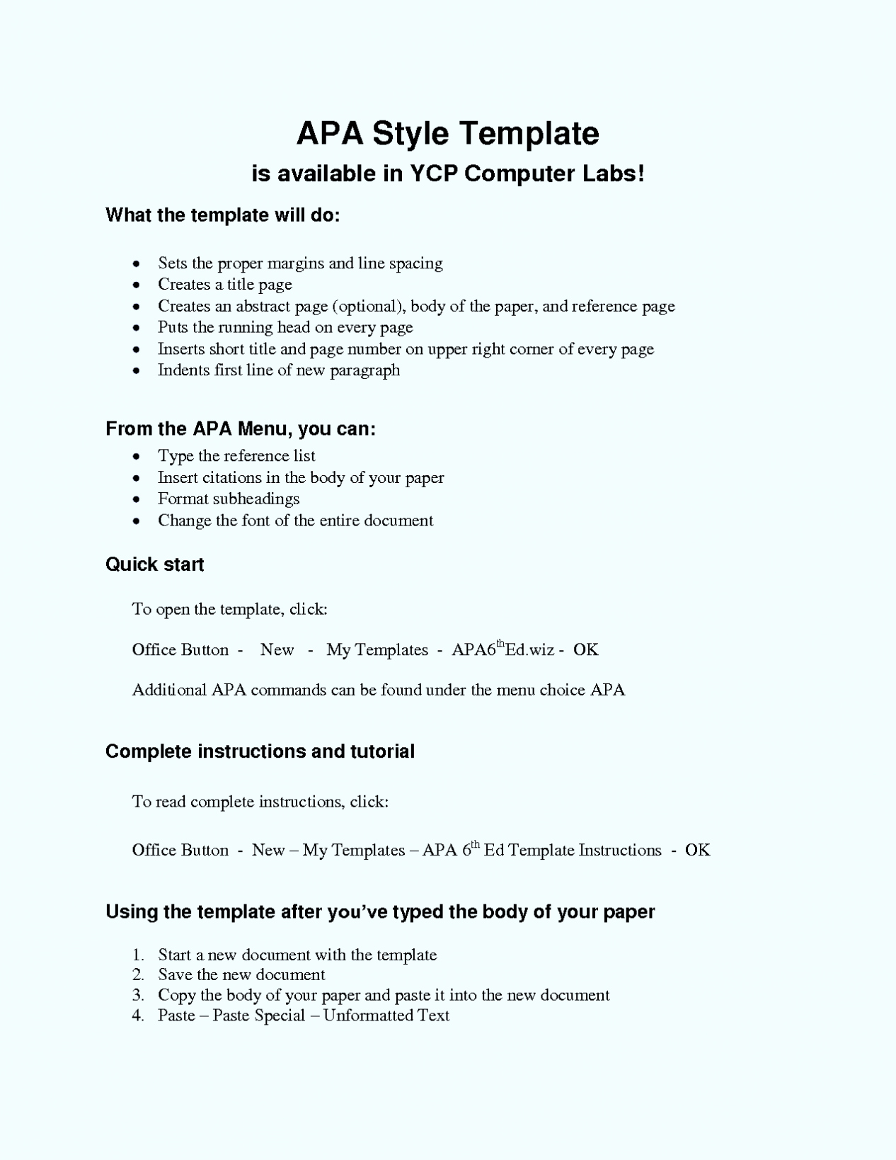 Apa format Template Open Office Unique Apa Essay format Template Word 6th Edition Word