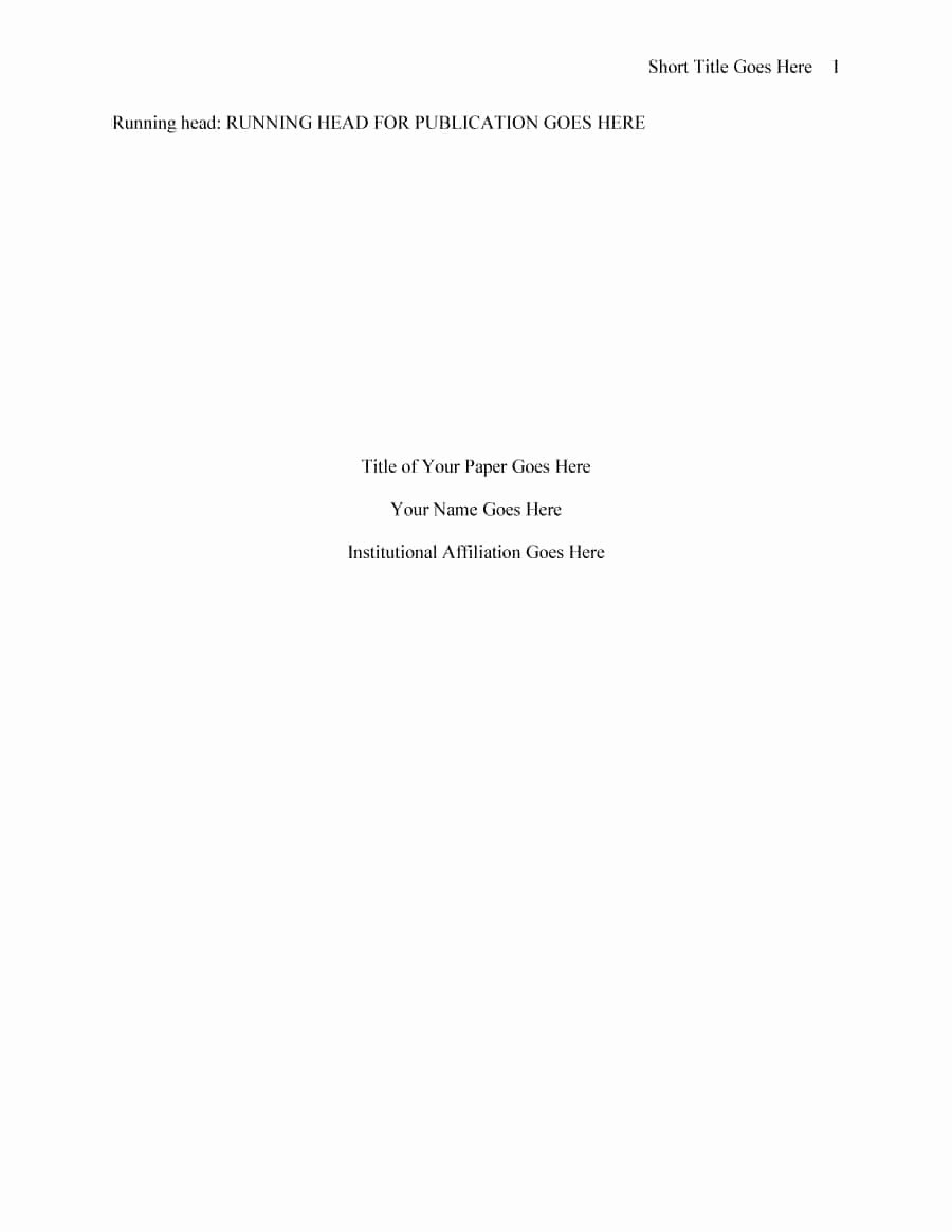 Apa Lab Report Cover Page Fresh 40 Apa format Style Templates In Word & Pdf