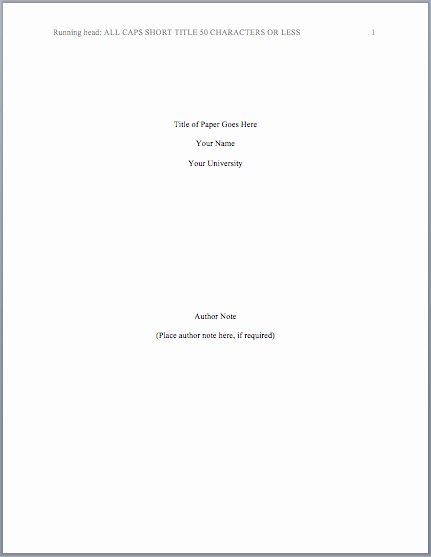 Apa Lab Report Cover Page New Lab Report Title Page format Free Download Elsevier