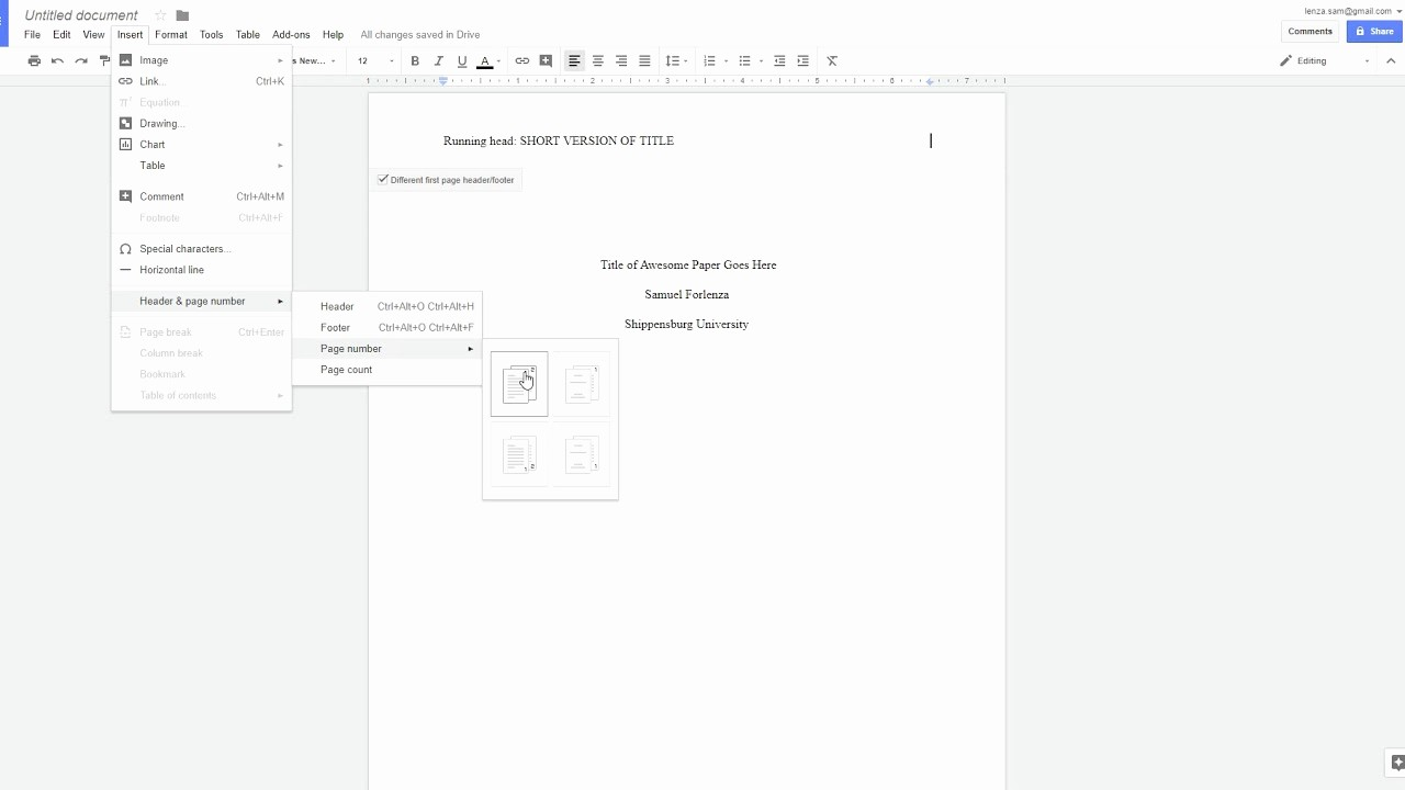 Apa Paper Template Google Docs New Apa Style 6th Ed Running Head On Google Docs