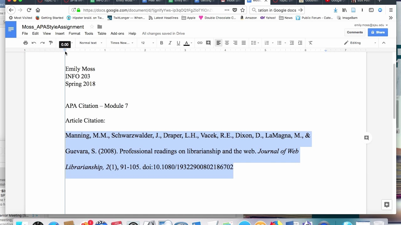 Apa Paper Template Google Docs New Hanging Indent Citation In Apa format Tutorial Google
