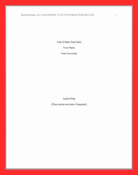 Apa Style Cover Page 2016 Elegant Apa Title Page 2016
