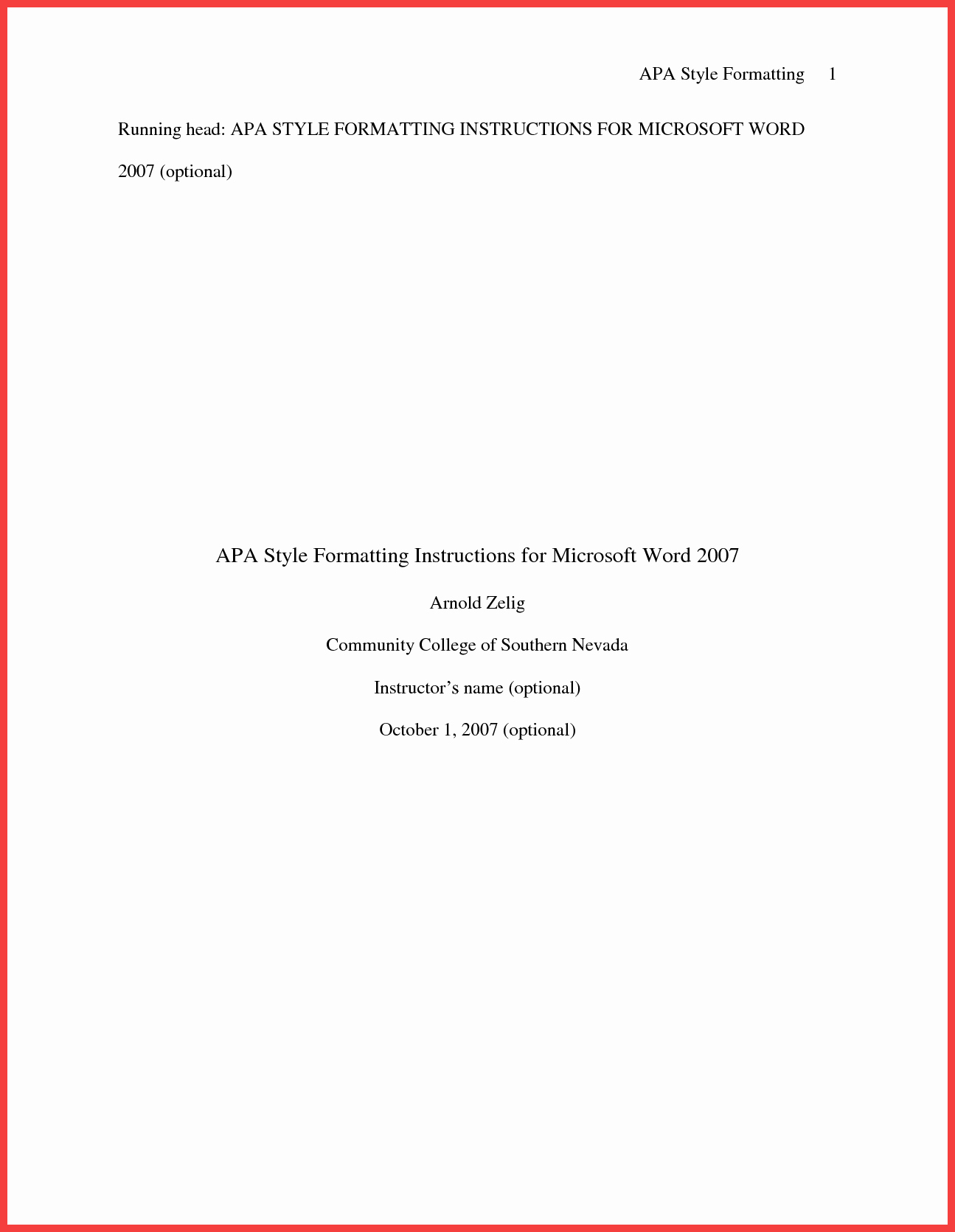 Apa Style Cover Page 2016 Elegant Apa Title Page Example 2016
