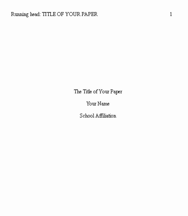 Apa Style Cover Page 2016 Lovely Best 25 Apa Title Page Example Ideas On Pinterest