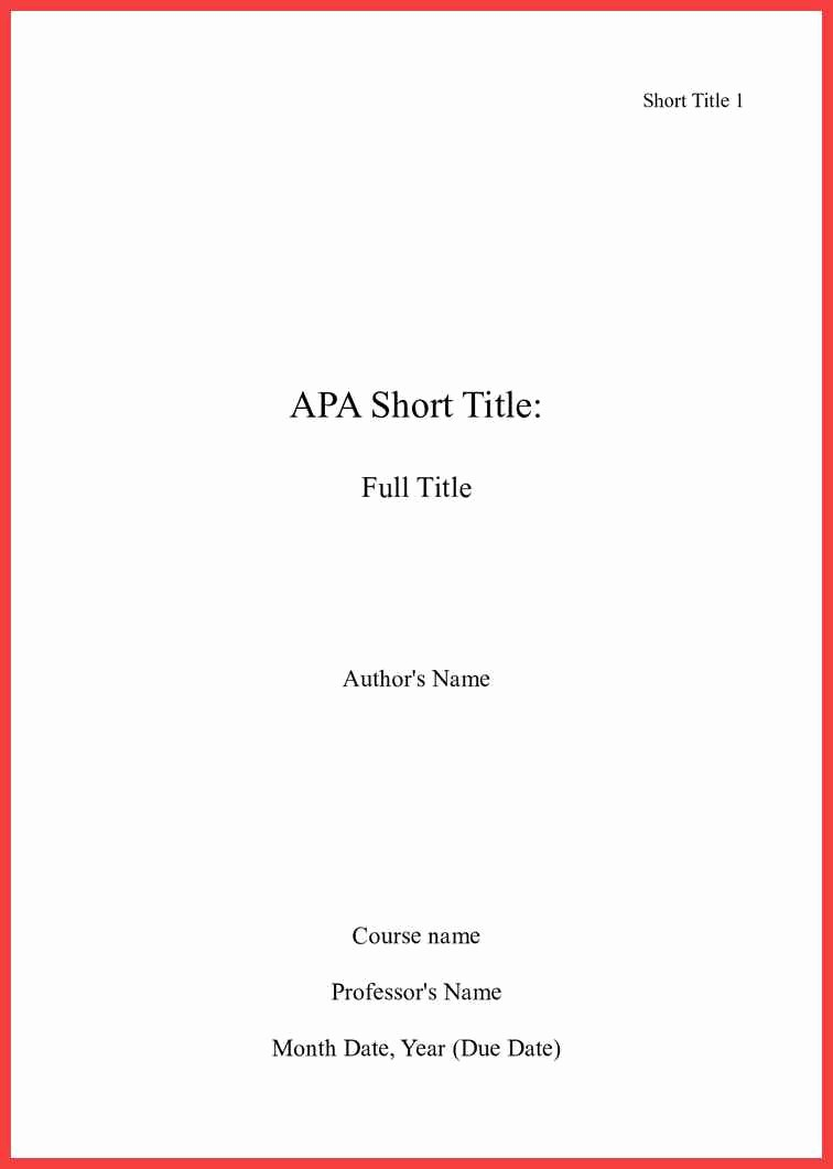Apa Style Cover Page 2016 Unique Apa Title Page format 2016