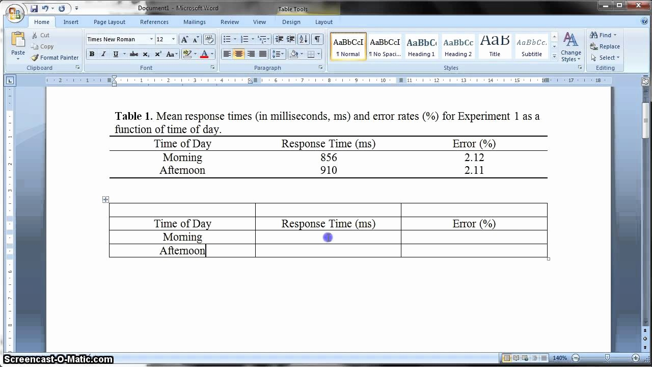 Apa Style Microsoft Word 2013 Lovely Apa formatted Table In Ms Word 2010