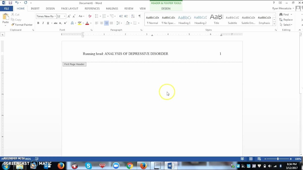 Apa Style Microsoft Word 2013 New Setting Up A Apa Style Running Head Using Microsoft Word