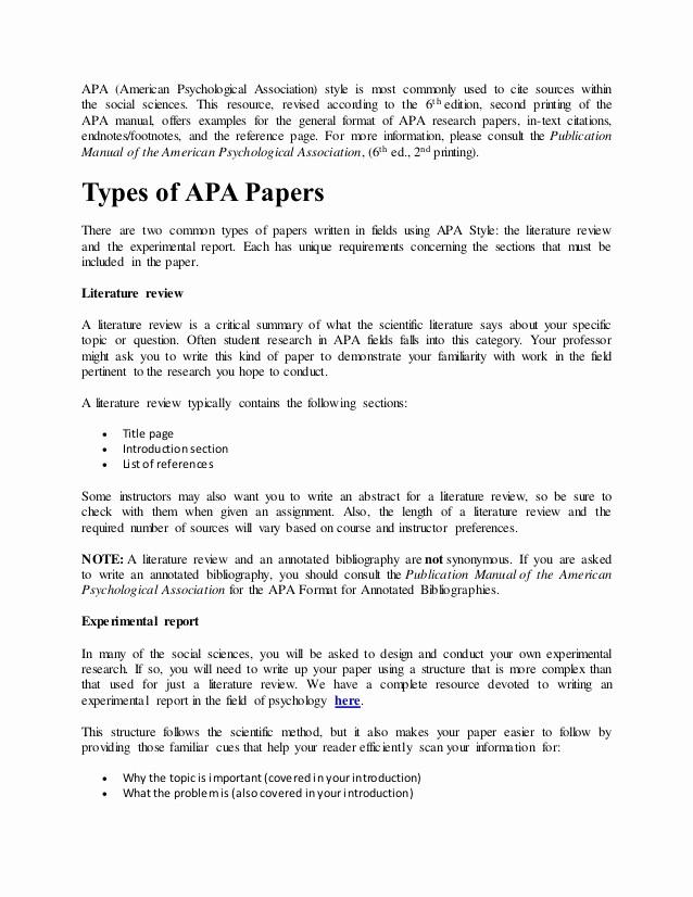 Apa Style Paper 6th Edition Elegant Apa