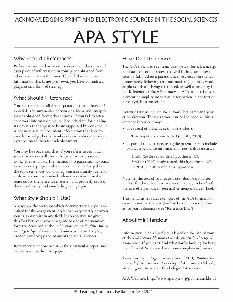 Apa Style Sample Paper Doc Elegant Apa Style