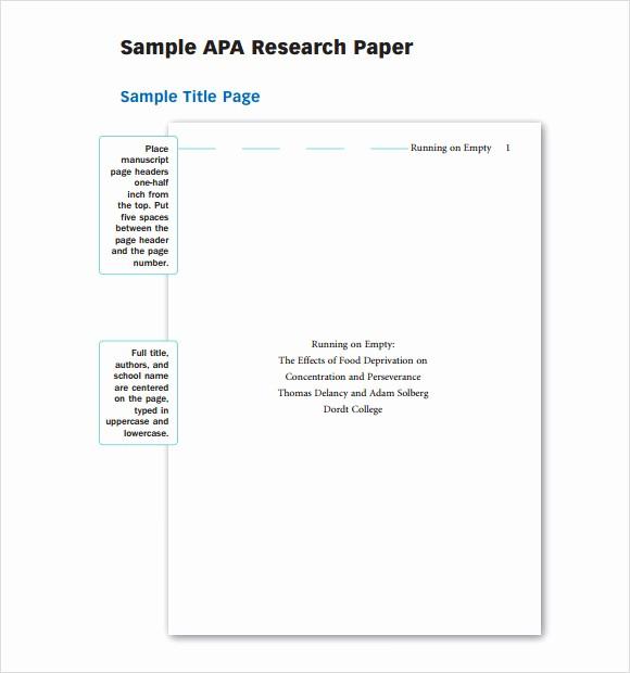 Apa Style Sample Paper Doc Luxury 9 Sample Apa Outline Templates