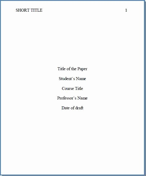 Apa Style Title Page Template Awesome Cover Page for Essay Word College 24 7 College