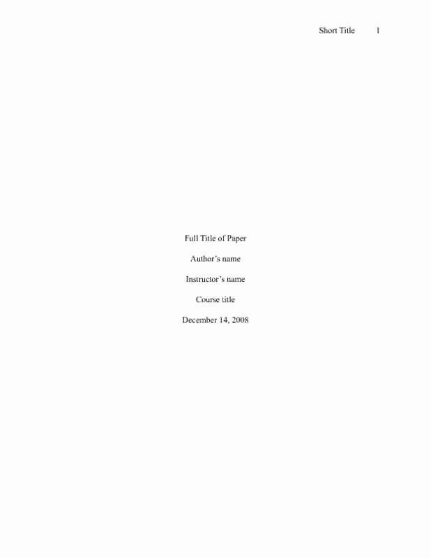 Apa Style Title Page Template Beautiful Best S Of Apa Title Page Apa Paper Title Page