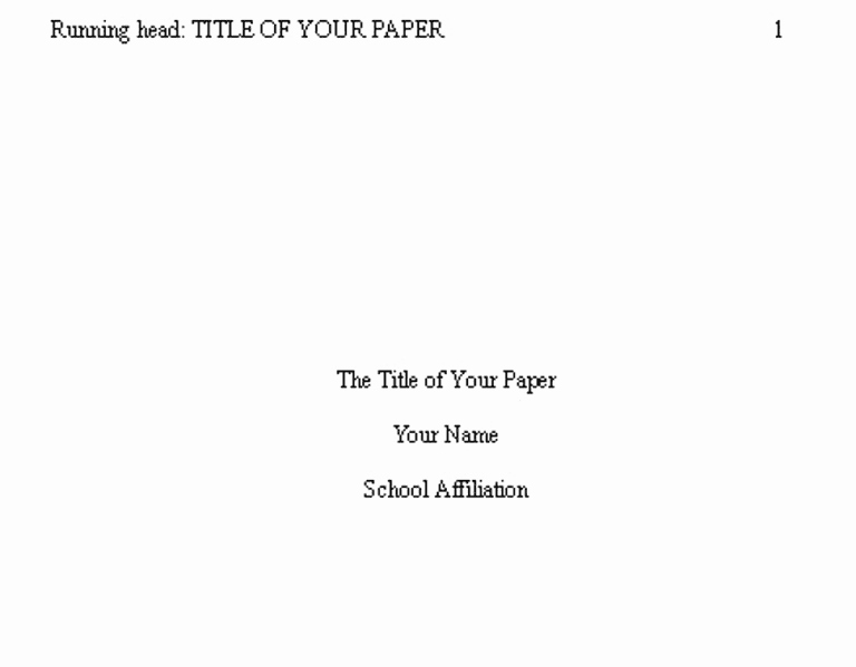 Apa Style Title Page Template Elegant Apa format Examples Tips and Guidelines