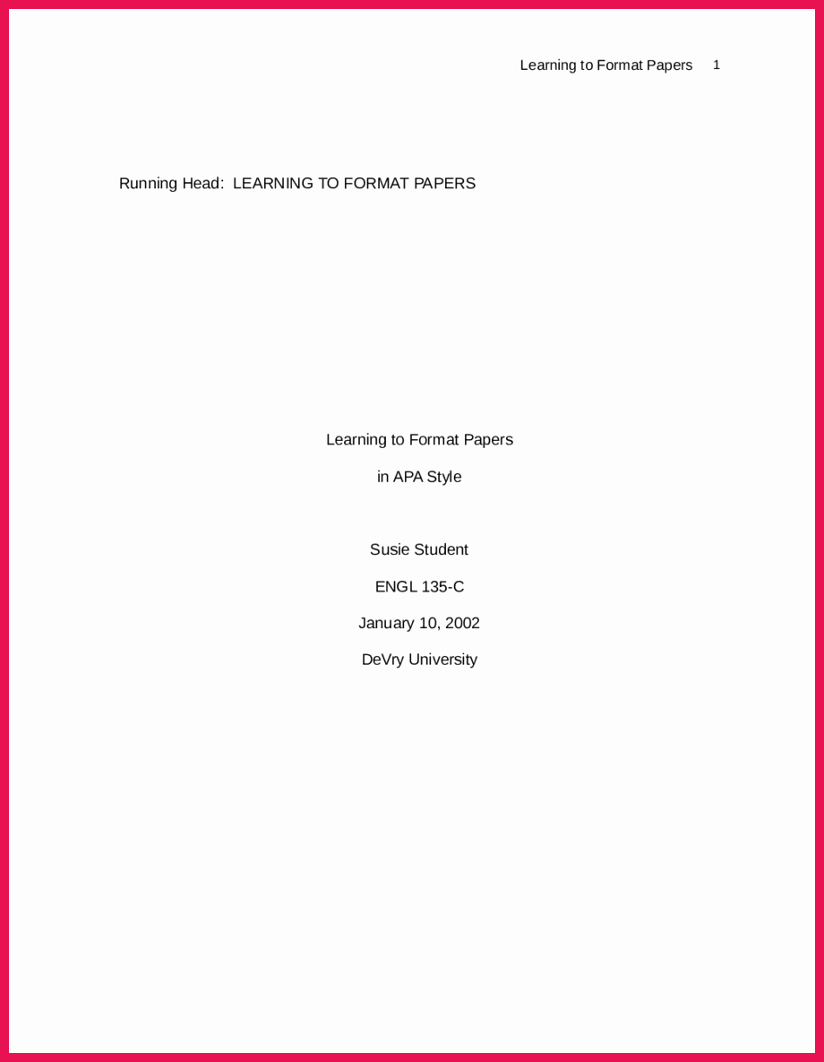 Apa Style Title Page Template Elegant Apa format Title Page Example