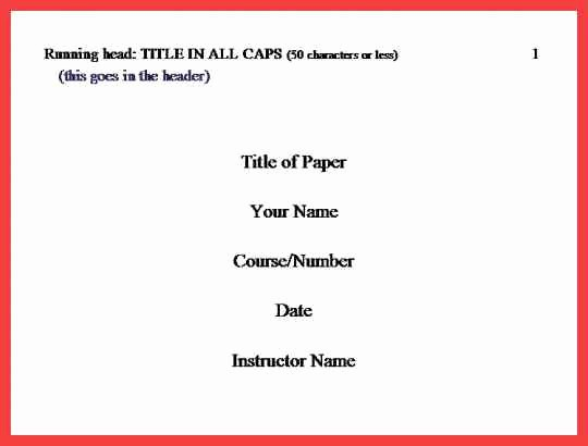 Apa Style Title Page Template Inspirational Cover Page Apa format 2016