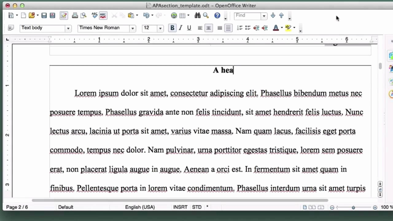 Apa Template for Open Office Awesome 19 formatting Apa Style Essay Section Headings In