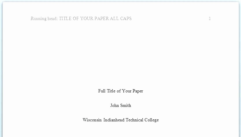 Apa Title Page Example 2016 Best Of Apa format Sample Pdf Essay formatting Style Example Paper