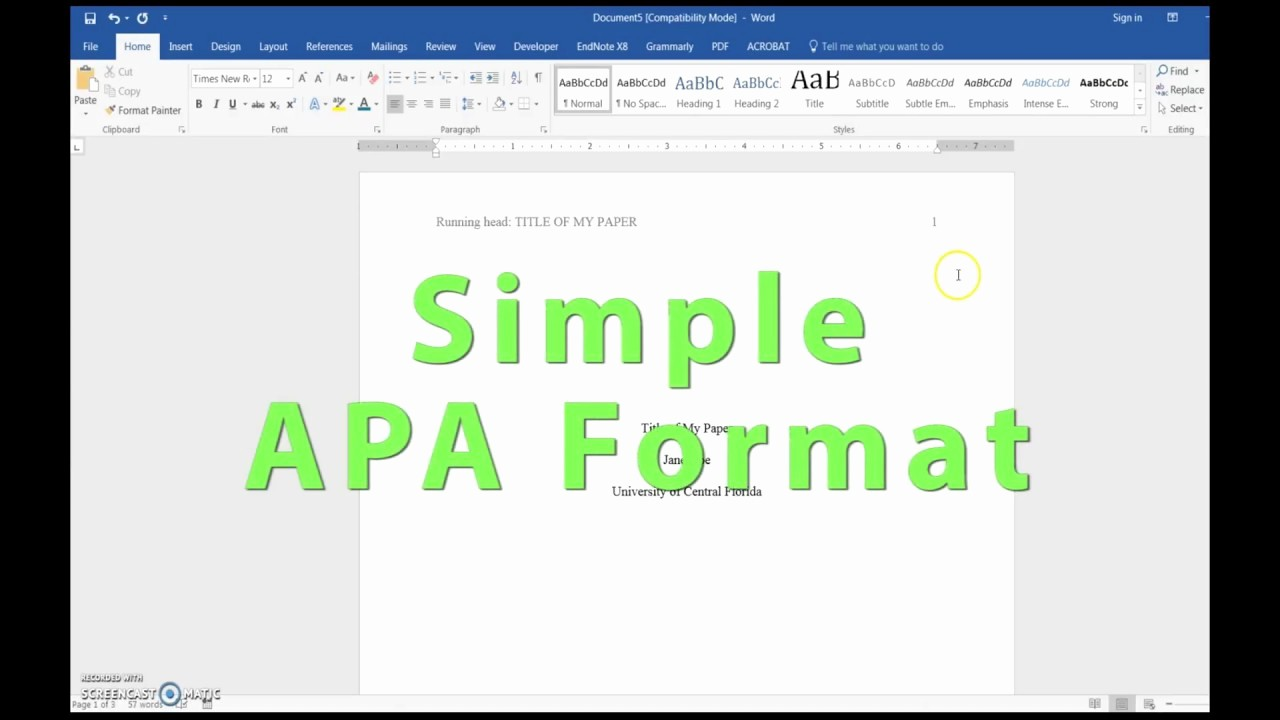 Apa Title Page Example 2016 Fresh Apa Header Title Page and References Setup In Word 2016