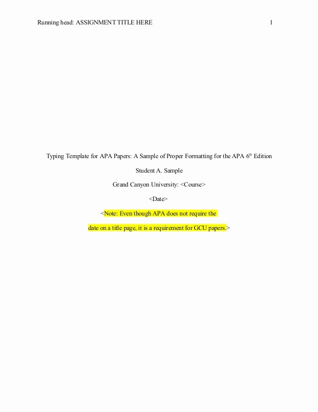 Apa Title Page Example 2016 Inspirational Apa 6th Edition Template