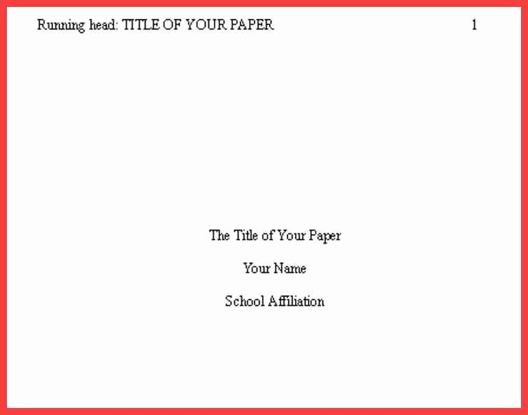 Apa Title Page Example 2016 New Apa format Cover Page 2016