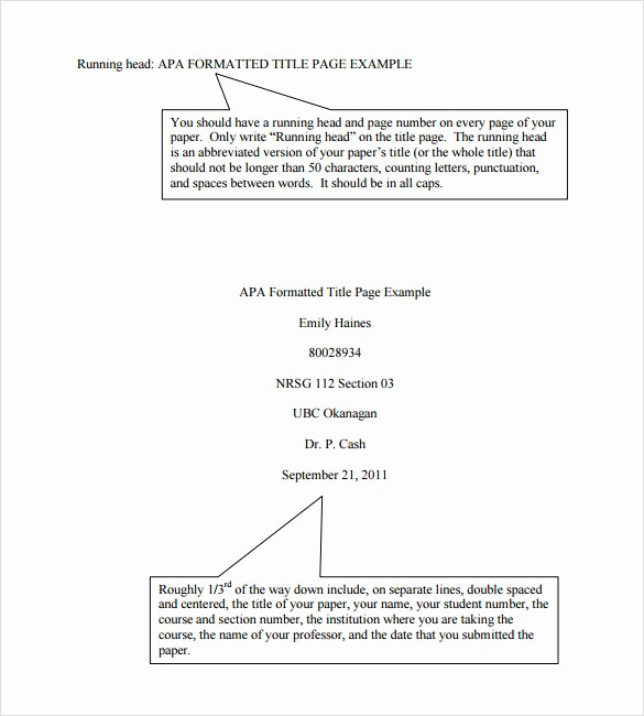 Apa Title Page Example 2016 New Sample Apa format Title Page Template 6 Free Documents