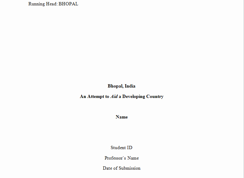 format for title page